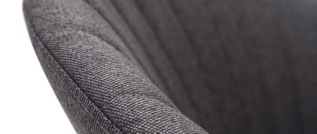 Tabouret de bar design réglable et pivotant en tissu gris foncé IZAAC