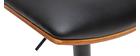 Tabouret de bar design réglable noir et bois foncé PANACH