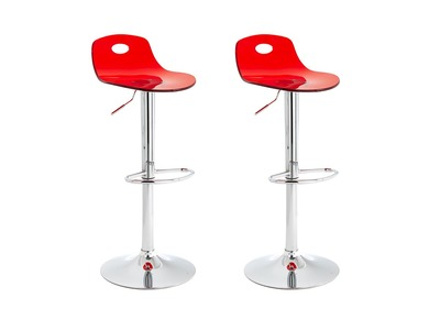 Tabouret de bar design rouge lot de 2 ATRIA