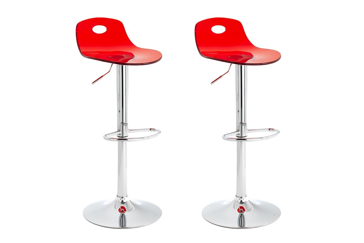 Promotion 12 tabouret de bar design rouge lot de 2 atria ancien prix 159 - Prix tabouret de bar ...