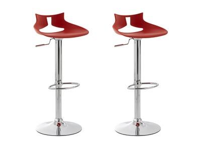 Tabouret de bar design rouge lot de 2 DENEB