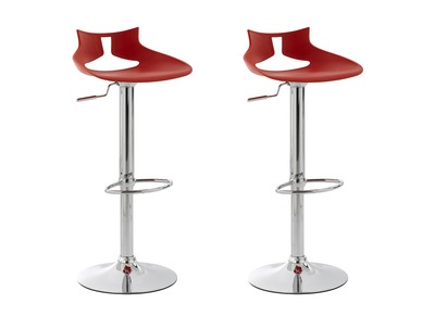 Tabouret de bar design rouge lot de 2 DENEB