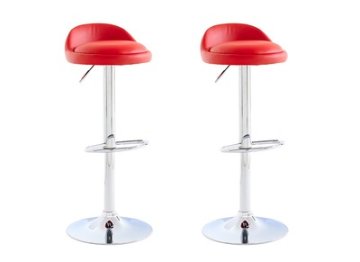 Tabouret de bar design rouge lot de 2 NAOS