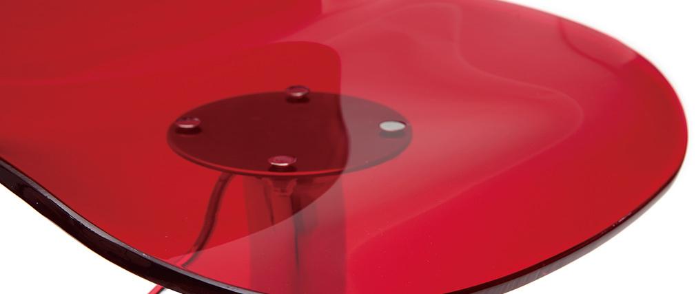 Tabouret de bar design rouge transparent GALILEO