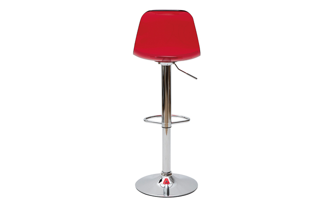 Tabouret de bar design rouge transparent galileo miliboo - Tabouret de bar rouge pas cher ...