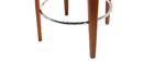 Tabouret de bar design tissu beige pieds noyer BJORG
