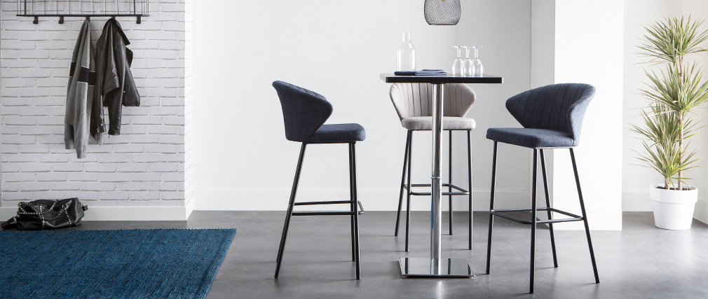 Tabouret de bar design tissu gris 75 cm DALLY