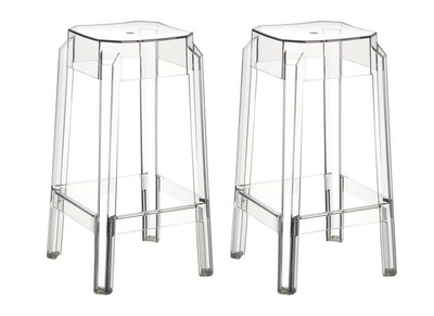 Tabouret de bar design transparent 75cm lot de 2 CLEAR