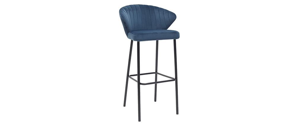 Tabouret de bar design velours bleu 75 cm DALLY