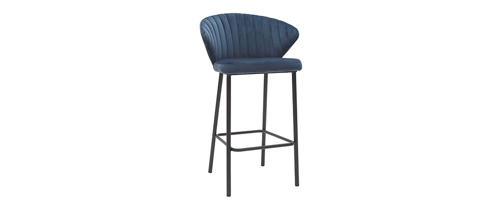 Tabouret de bar design velours bleu foncé 65 cm DALLY