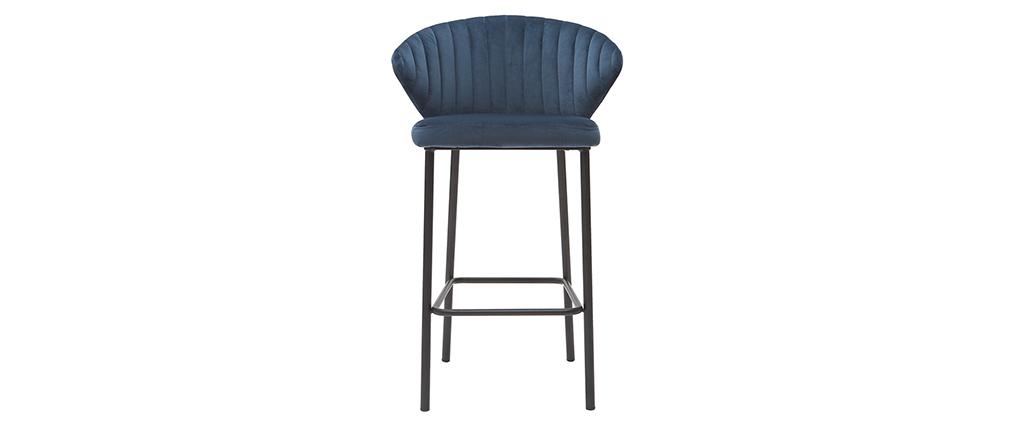 Tabouret de bar design velours bleu foncé H68 cm DALLY