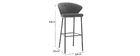 Tabouret de bar design velours bleu pétrole H78 cm DALLY