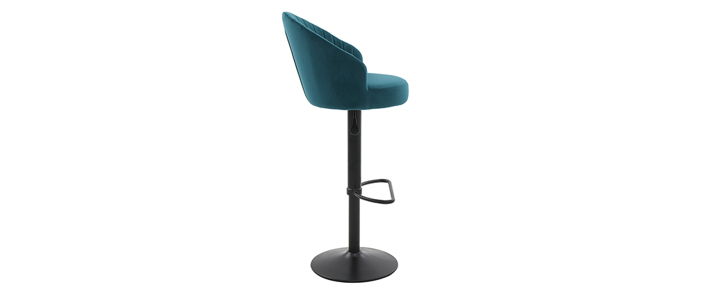 Tabouret de bar design velours bleu pétrole IZAAC