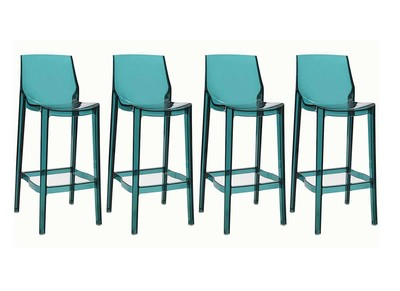 Tabouret de bar design vert d'eau transparent lot de 4 YLAK