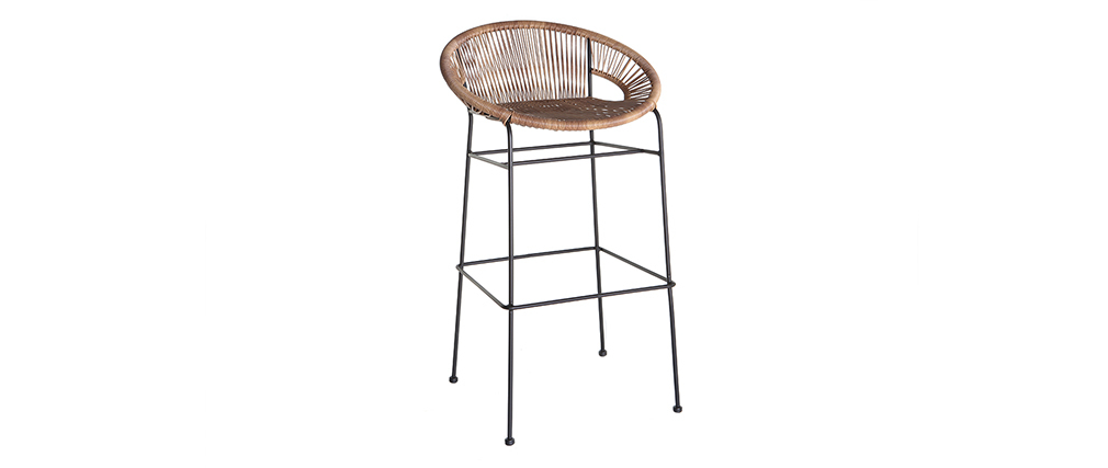 tabouret de bar en fils de r sine fa on rotin mia miliboo. Black Bedroom Furniture Sets. Home Design Ideas