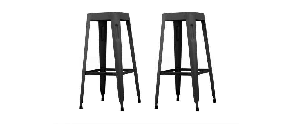 tabouret de bar industriel 65cm noir vieilli lot de 2 factory miliboo. Black Bedroom Furniture Sets. Home Design Ideas
