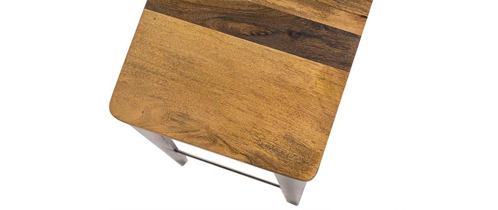Tabouret de bar industriel acier et bois 75 cm MADISON
