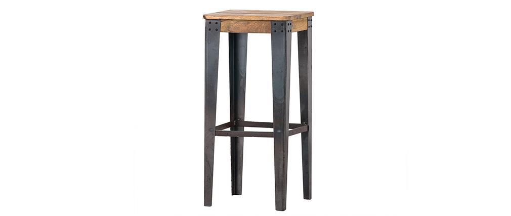 Tabouret de bar industriel acier et bois H75 cm MADISON