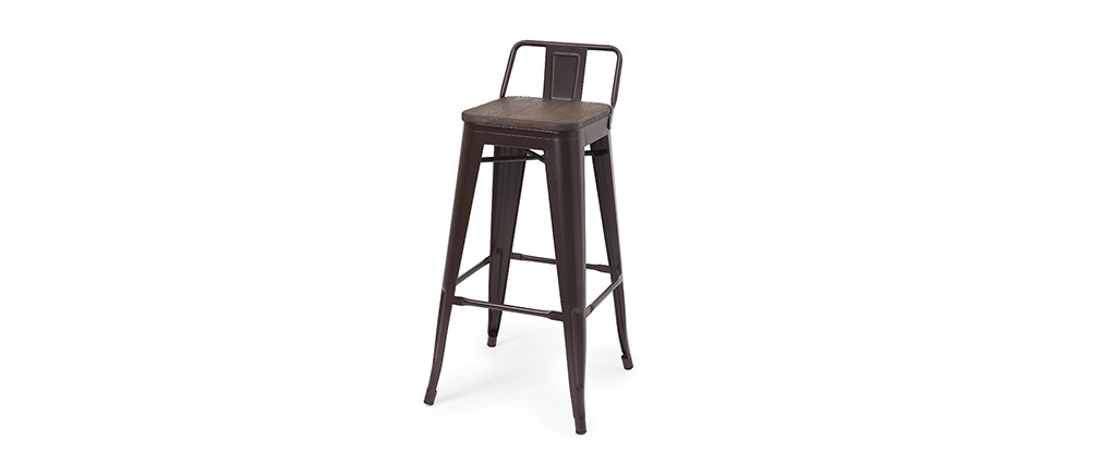 tabouret de bar industriel effet rouille lot de 2 usino miliboo. Black Bedroom Furniture Sets. Home Design Ideas