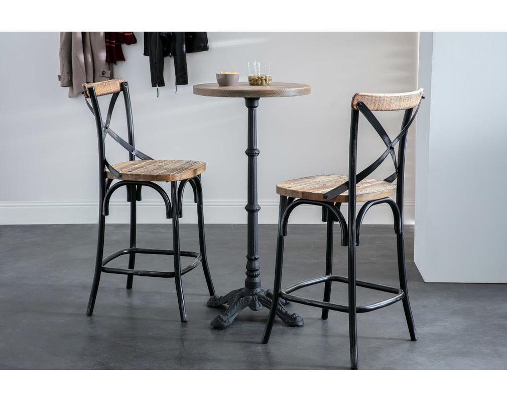 Tabouret de bar industriel en bois et métal vieilli noir 5 cm