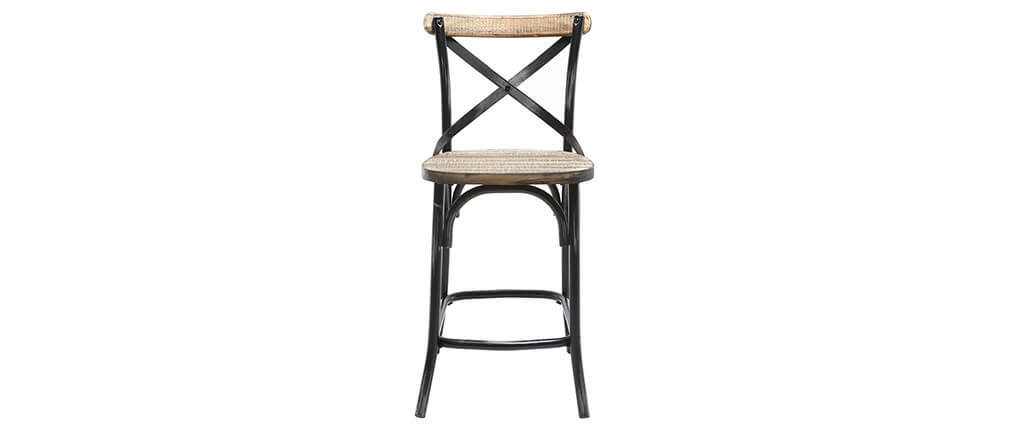 tabouret de bar industriel en m tal noir et bois 65 cm jake miliboo. Black Bedroom Furniture Sets. Home Design Ideas