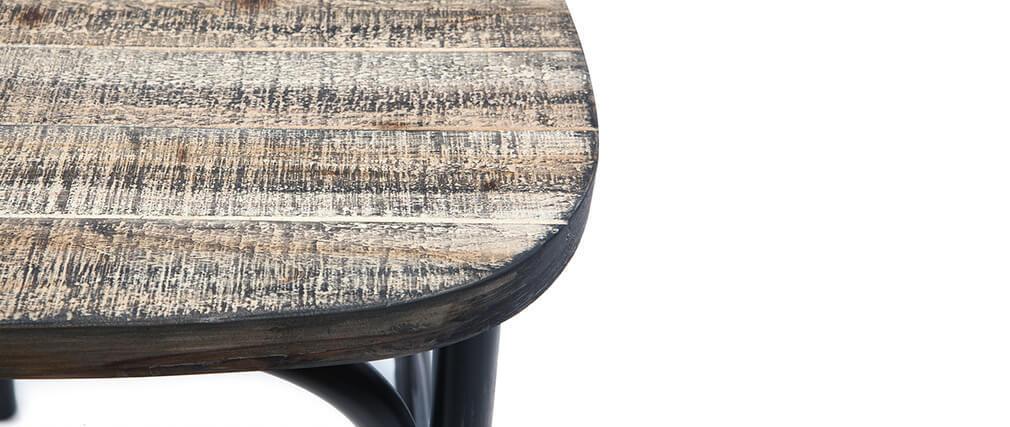 Tabouret de bar industriel en métal noir et bois 65 cm JAKE
