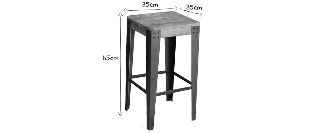 tabouret de bar industriel m tal et bois 65 cm madison. Black Bedroom Furniture Sets. Home Design Ideas