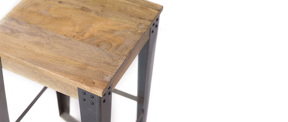 Tabouret de bar industriel métal et manguier massif H65 cm MADISON