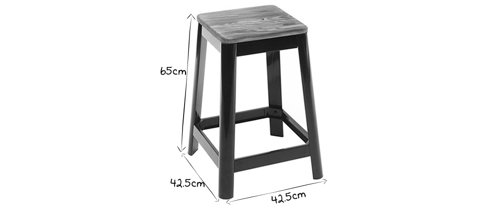 Tabouret de bar industriel noir 65 cm NICK