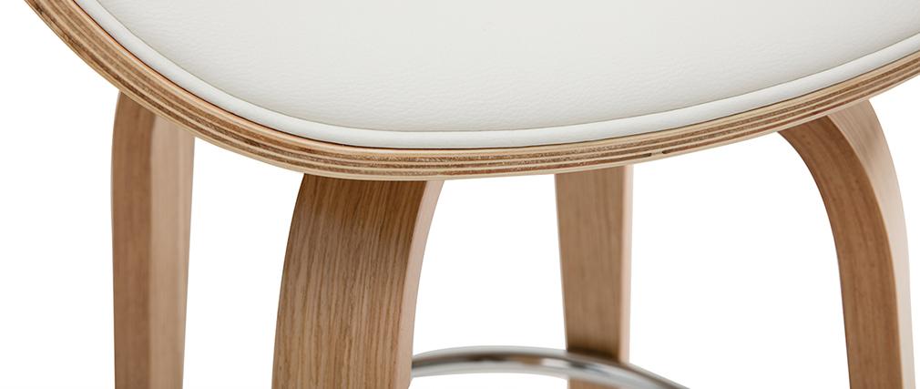 Tabouret de bar pivotant blanc et bois clair 65 cm WALNUT