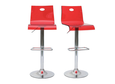 Tabouret de bar plexiglas rouge transparent SATURNE (lot de 2)