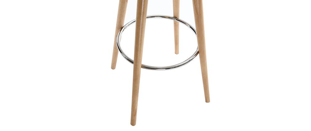 Tabouret de bar scandinave blanc et bois clair 79 cm NORDECO
