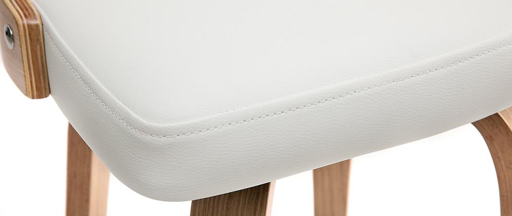 Tabouret de bar scandinave pivotant blanc et bois clair GARBO