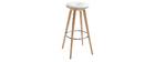 Tabouret de bar style scandinave blanc pieds bois clair 78cm  NORDECO