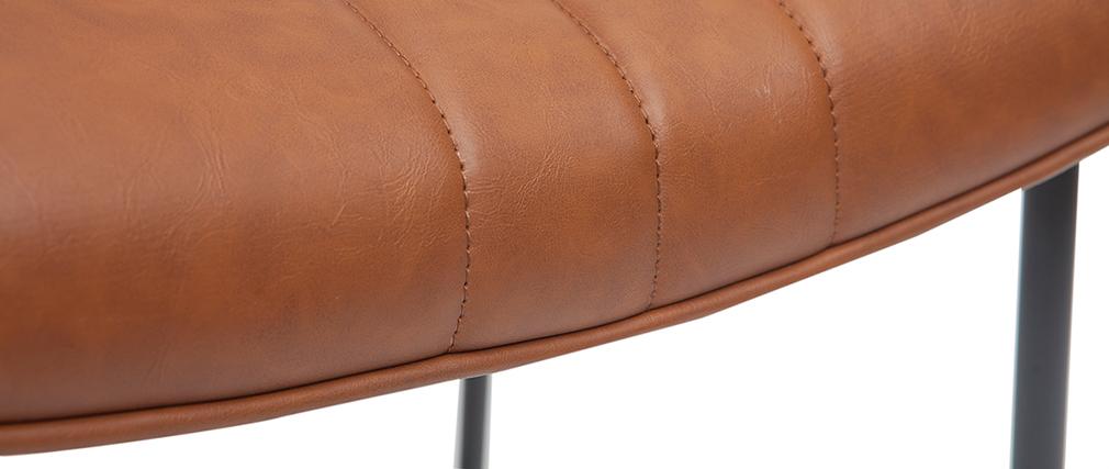 Tabouret de bar vintage marron clair et métal H65 cm GOTHAM