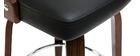 Tabouret de bar vintage pivotant noir et bois foncé GARBO