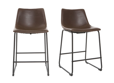 Tabouret de bar vintage PU marron 61cm lot de 2 NEW ROCK