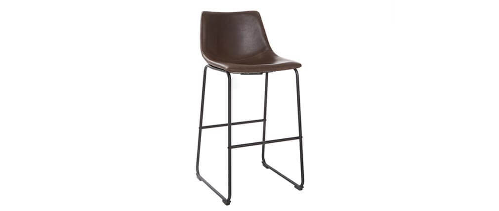 Tabouret de bar vintage PU marron 73 cm (lot de 2) NEW ROCK