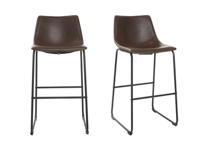 Tabouret de bar vintage PU marron 73cm lot de 2 NEW ROCK
