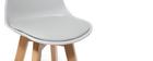 Tabouret design gris clair et bois 65cm lot deux MINI PAULINE