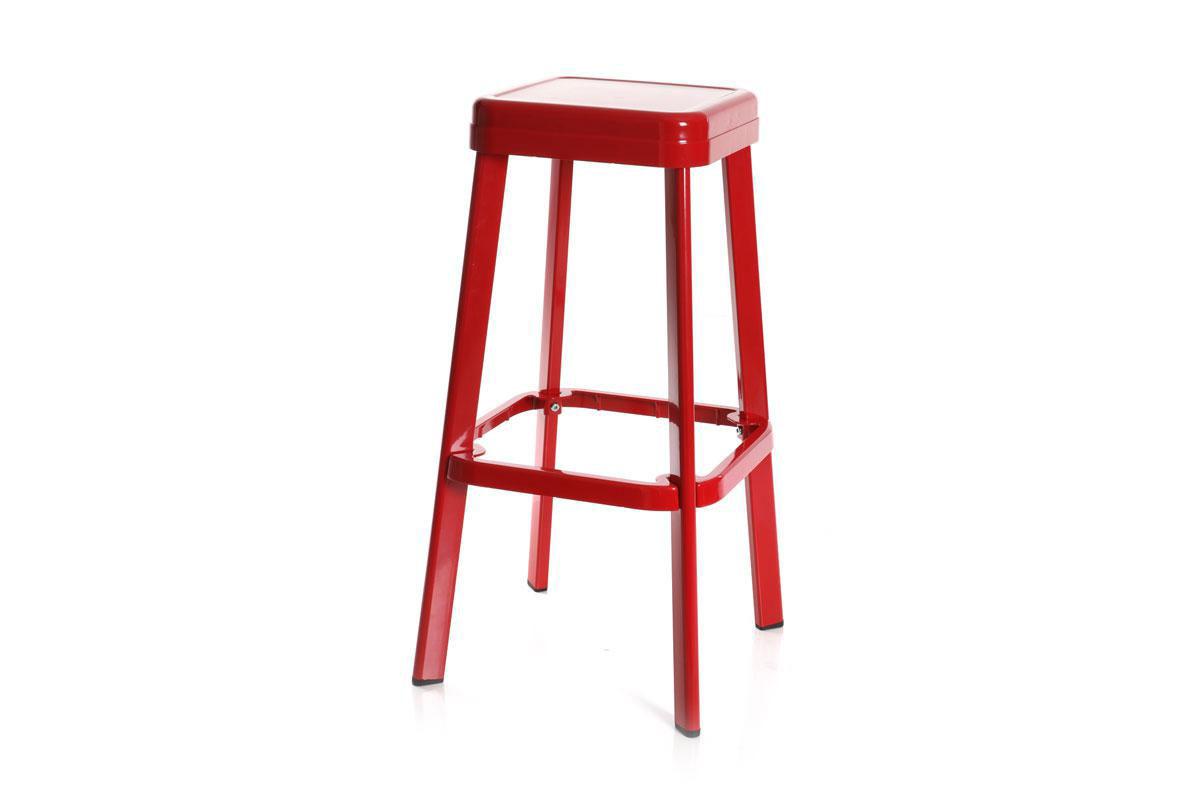 tabouret design industriel m tal rouge iron miliboo. Black Bedroom Furniture Sets. Home Design Ideas