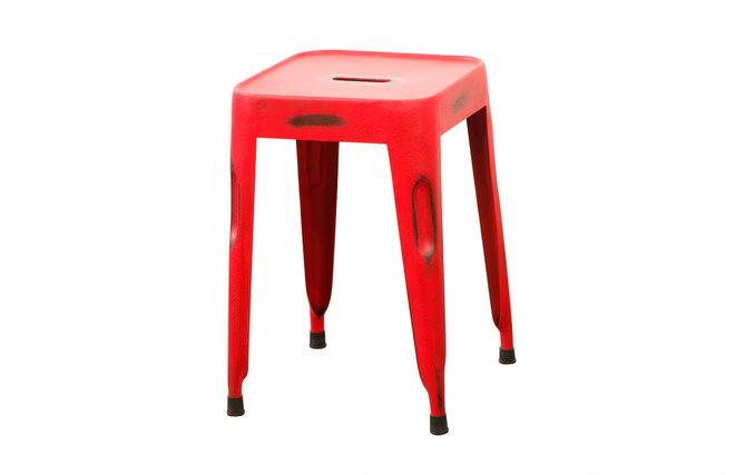 Tabouret design industriel m tal vieilli rouge factory - Tabouret de bar style industriel ...