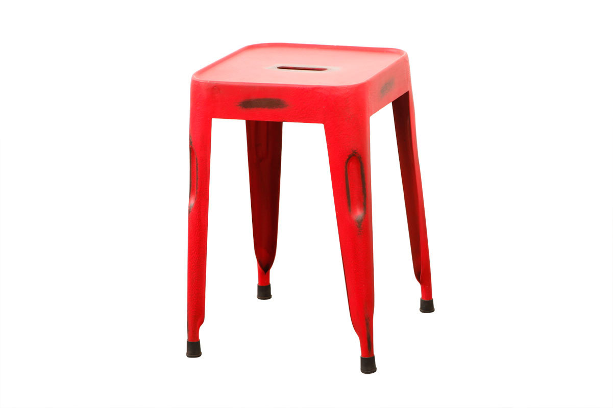 Tabouret design industriel m tal vieilli rouge factory miliboo - Tabouret industriel metal ...