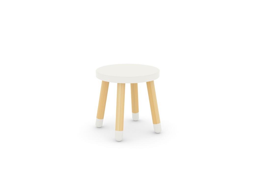 tabouret enfant blanc ludik zoom. Black Bedroom Furniture Sets. Home Design Ideas