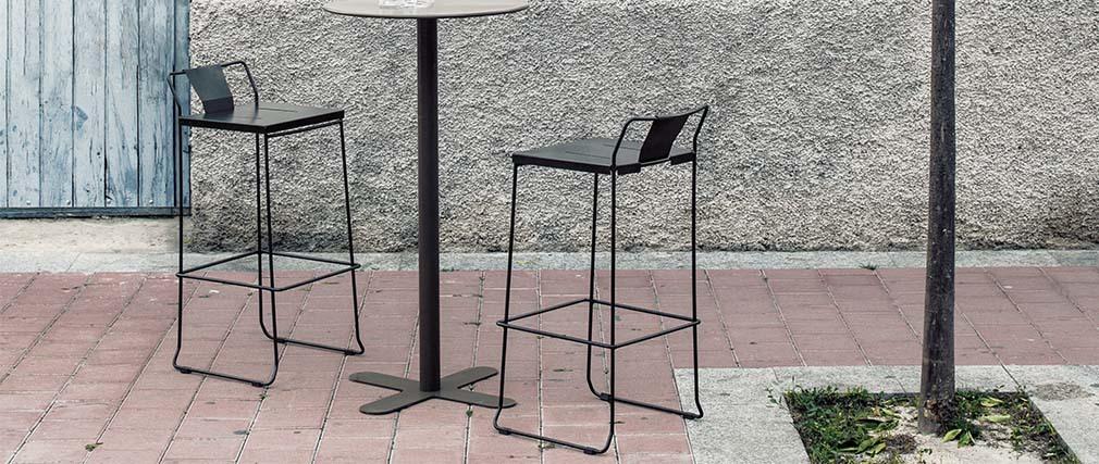 Tabouret extérieur design métal noir 76 cm TENERIFE