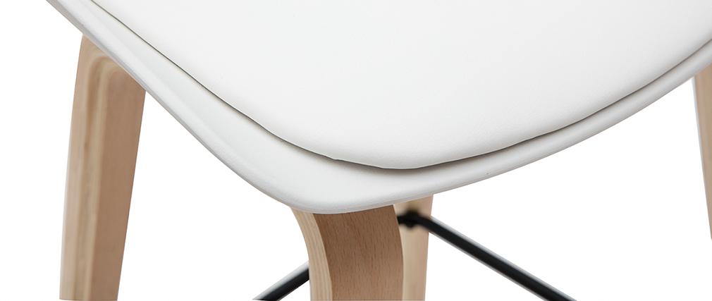 Tabourets de bar blanc et pieds bois 65 cm (lot de 2) LINO