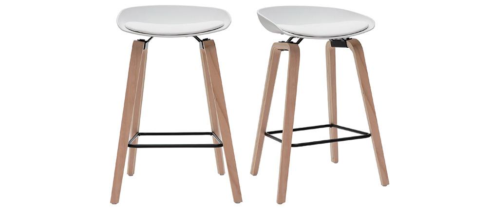 Tabourets de bar blancs et pieds bois H65 cm (lot de 2) LINO