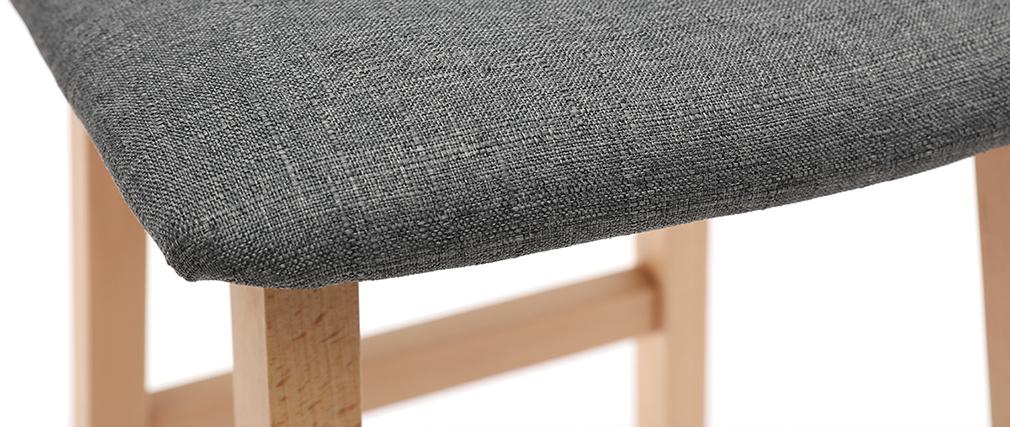 Tabourets de bar bois clair et tissu gris 72 cm (lot de 2) OSAKA