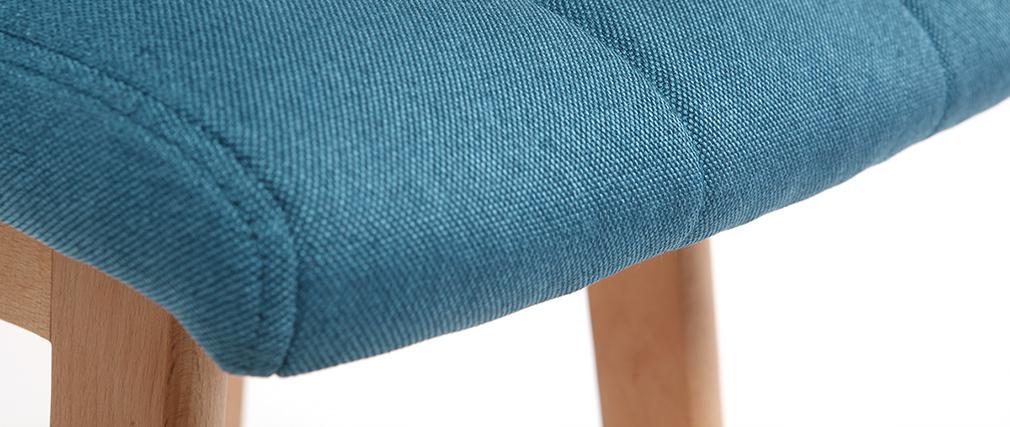 Tabourets de bar bois et bleu canard 65 cm (lot de 2) KLARIS