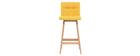 Tabourets de bar bois et jaune H65 cm (lot de 2) KLARIS